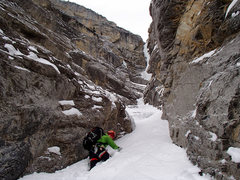Rock Climbing Photo: Wading through deep snow in the approach gully.