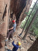 Rock Climbing Photo: Me working a short cruxy top rope problem (probabl...