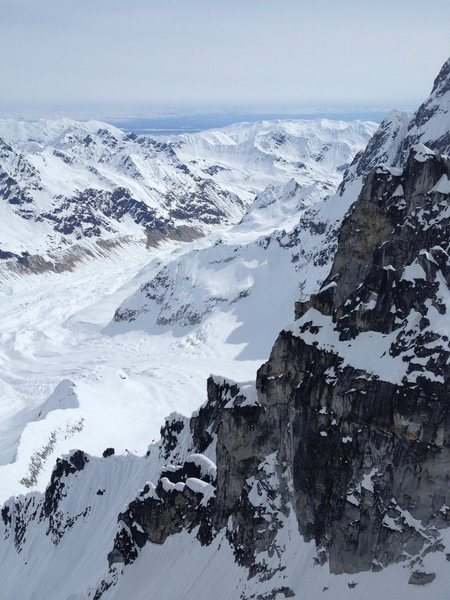 View east towards Talkeetna, looking over the Granite Glacier from the summit of The Plunger
