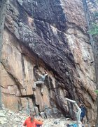 Rock Climbing Photo: The challenging start leading to the powerful roof...