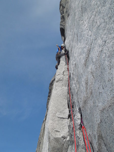 Richard Shore on the rightmost of the West Face Cracks, 5.10