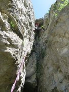 Rock Climbing Photo: Fanny a bit scared a the top of the chimney. You s...