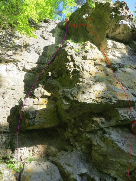 The pink route is Verschneidung and the red one Dachumgehung.