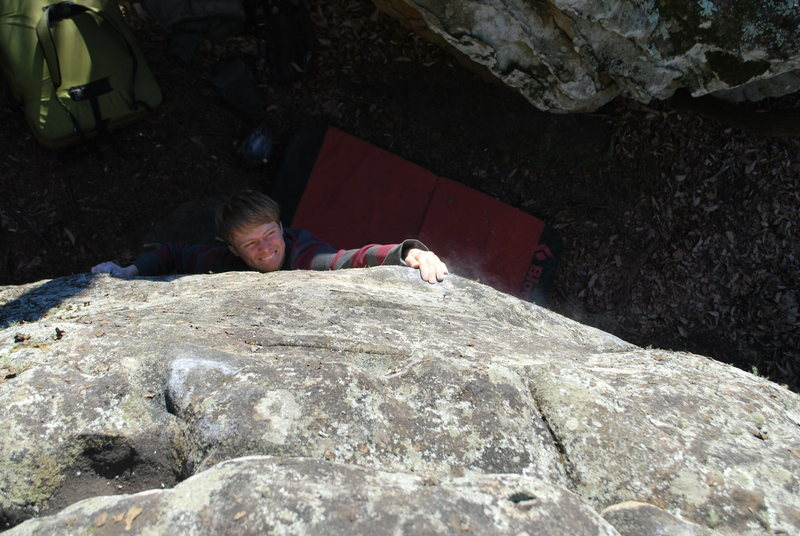 Rock Climbing Photo: Sticking the opening crux sloper.