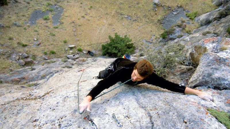 Rock Climbing Photo: Daniel Griffin approaches the anchors at the top o...