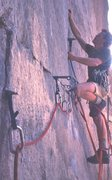 Rock Climbing Photo: Me using pins as nuts below the old bolt ladder. 1...