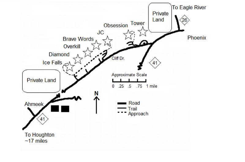 Map of climbing areas along Cliff Dr.