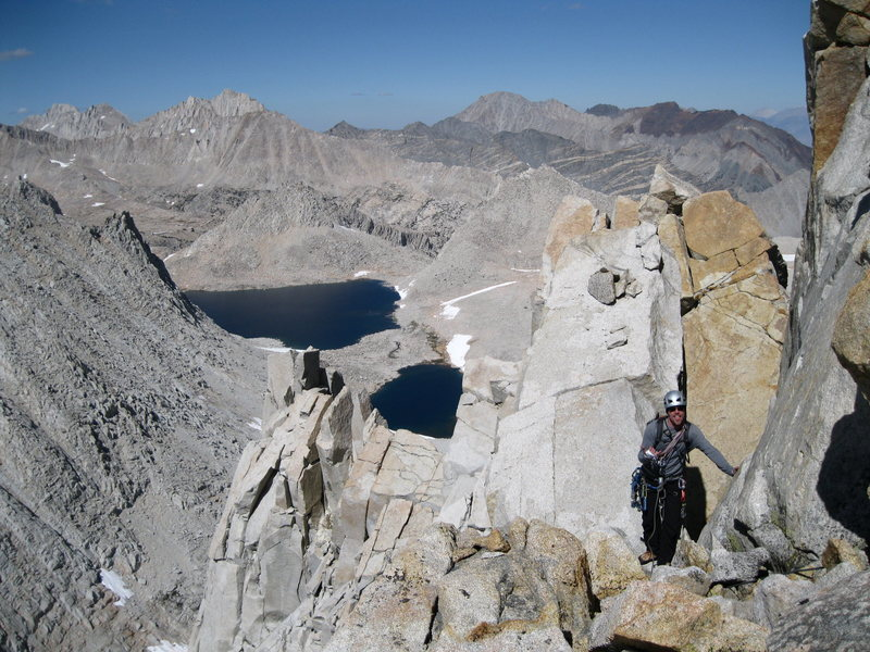 Looking down the summit ridge toward the North Buttress from the true summit.