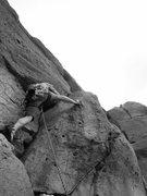 Rock Climbing Photo: Bart boldly approaches the crux block.