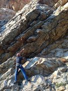 Rock Climbing Photo: Photo of the start.  Crux is the last overhang in ...