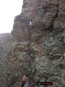 Rock Climbing Photo: Route follows the Red Line,  The Crux is where the...