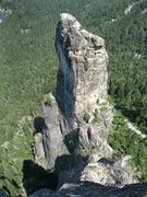 Rock Climbing Photo: Looking down on Lower Cathedral Spire from the sum...