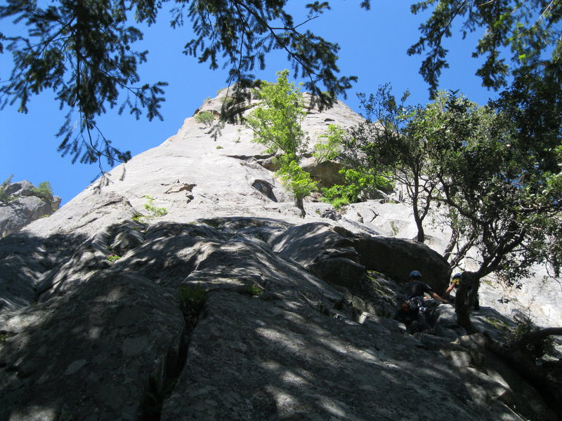 Looking up from the big ledge at the start of the route.