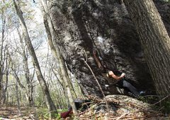 Rock Climbing Photo: Aaron Parlier at the pocket deadpoint on the FA of...