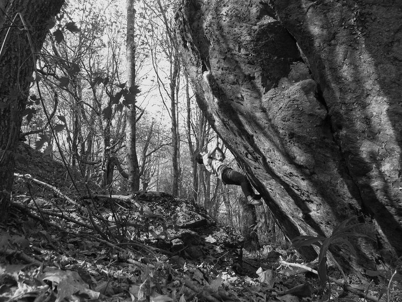 "Rock Climbing Photo: Aaron on the FA of ""Black Widow"""