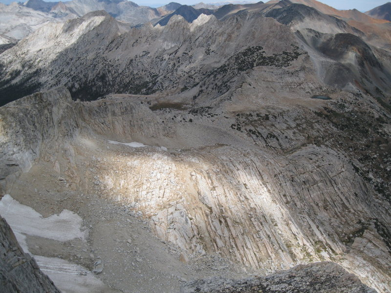 Looking at most of the Northwest Ridge from the summit of North Peak.