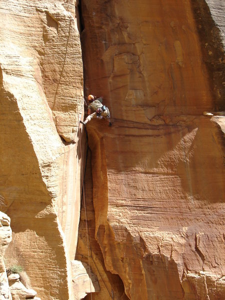 Dean setting up for the crux of P1