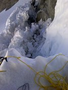 Rock Climbing Photo: Bergschrund left. Had to jump it!