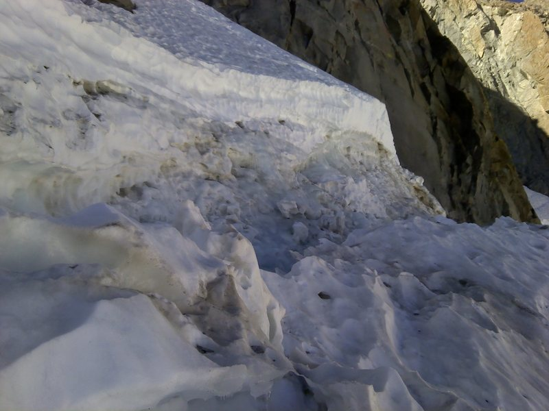 There is a large crevasse that you can not see at the bottom.