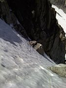 Rock Climbing Photo: Bullet hard névé. There were sections of water i...