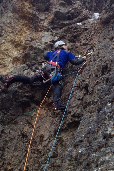 Rock Climbing Photo: Crux of second pitch.  Photo by Garrett R.