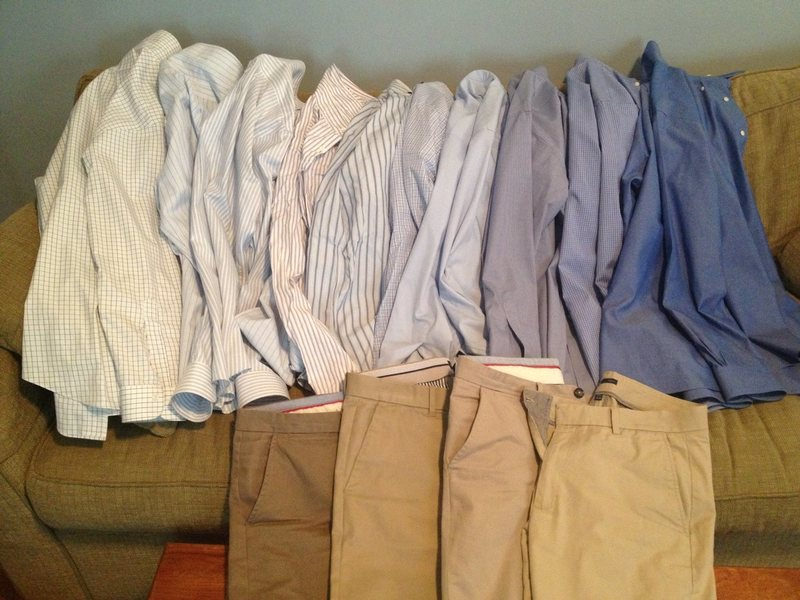 pants: light khaki through dark khaki, doubles medium khaki.<br> shirts: white/blue hybrid through dark blue.