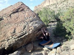 Rock Climbing Photo: John working problem.
