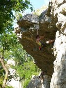 Rock Climbing Photo: Pulling the roof/crux.