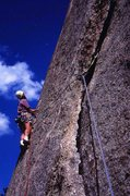 Rock Climbing Photo: Martin Bennett at the start of The J Crack on a pe...