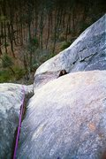 Rock Climbing Photo: Looking down from P1 belay