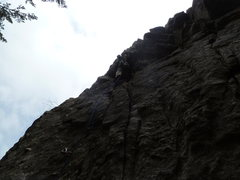 Rock Climbing Photo: At the lone bolt.  (The bolt at the bottom is on &...