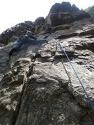 Rock Climbing Photo: Approaching the third bolt.