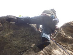 Rock Climbing Photo: Making the move by the bolt.