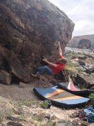 Rock Climbing Photo: Working through the bottom crux.