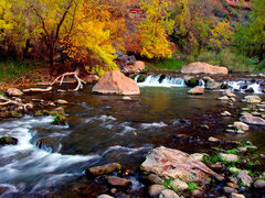 Beautiful fall colors up the Riverwalk Trail and into the Narrows.