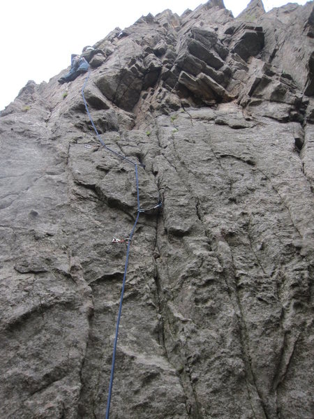 Rock Climbing Photo: Jay Eggleston around 3rd bolt. Notice gear placeme...
