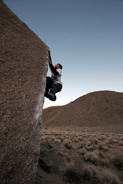 Charlie Harnach on Collin's Arete at twilight.