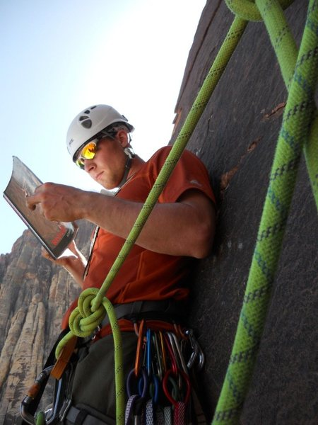 Rock Climbing Photo: Trying to figure out where to go from the 3rd bela...