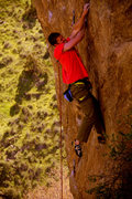 Rock Climbing Photo: Kevin Capps making the FA.... Small crimpers.