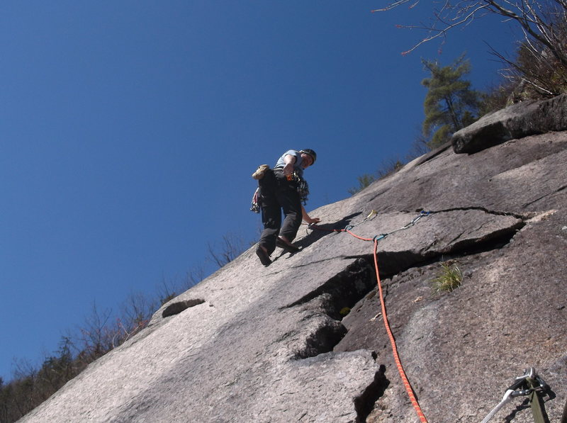 The start of the 120 foot finger crack on pitch 2.