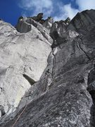 Rock Climbing Photo: Starting up P4.  The Cobra above to the left.