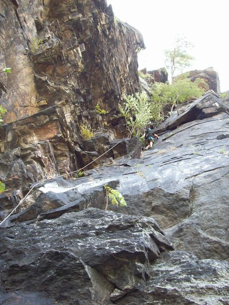 'D' Route on Maryland Heights. A view of the first pitch which gives a good sense of the route. - photo John Ely