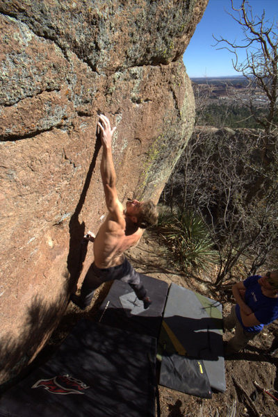 Brian throwing for the crux crimp