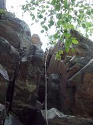 Rock Climbing Photo: This rope leads through the slot on the second pit...