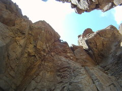 Rock Climbing Photo: Final stem moves near the top--looking down!  So e...