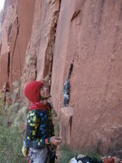 Rock Climbing Photo: thinking about no pro for 30 feet on a far out wal...