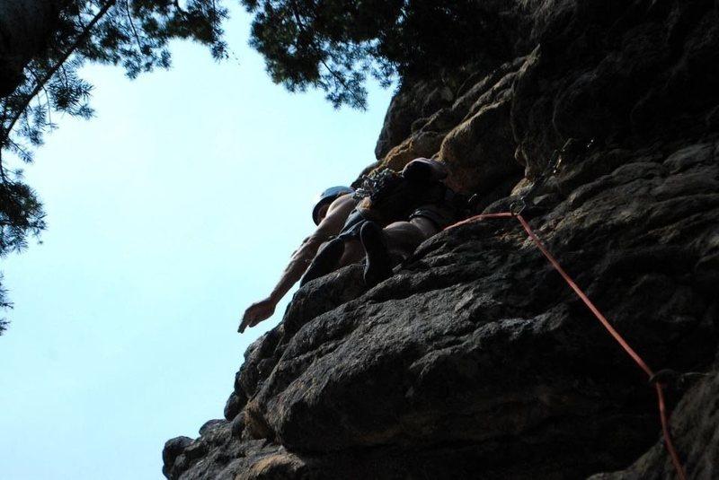 Rock Climbing Photo: A. Whitmore on the FA (Fall 2012).