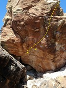 Rock Climbing Photo: Start out left on undercling and traverse into the...