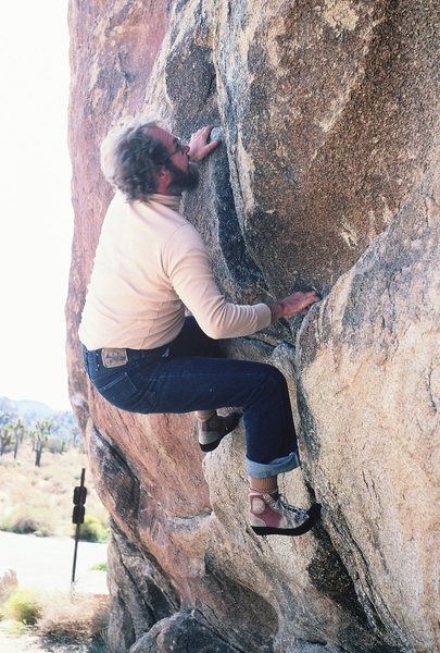 Rodger bouldering the start of Hermanutic, Spring 1982. Note the RR Verappes!