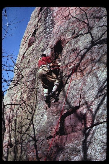 Richard Goldstone on Richard's Reprieve, Two Pines Buttress, Devil's Lake 1962(?)
